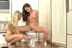 Toilet, Lesbian - Porn videos